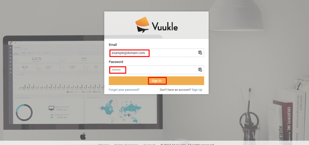 Login to Vuukle Admin Panel 02